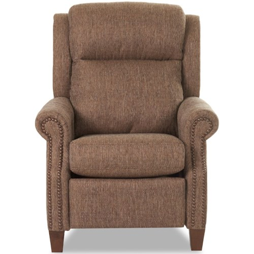 Klaussner Gateway Traditional Power High Leg Recliner with Nailheads and Power Headrest & Lumbar