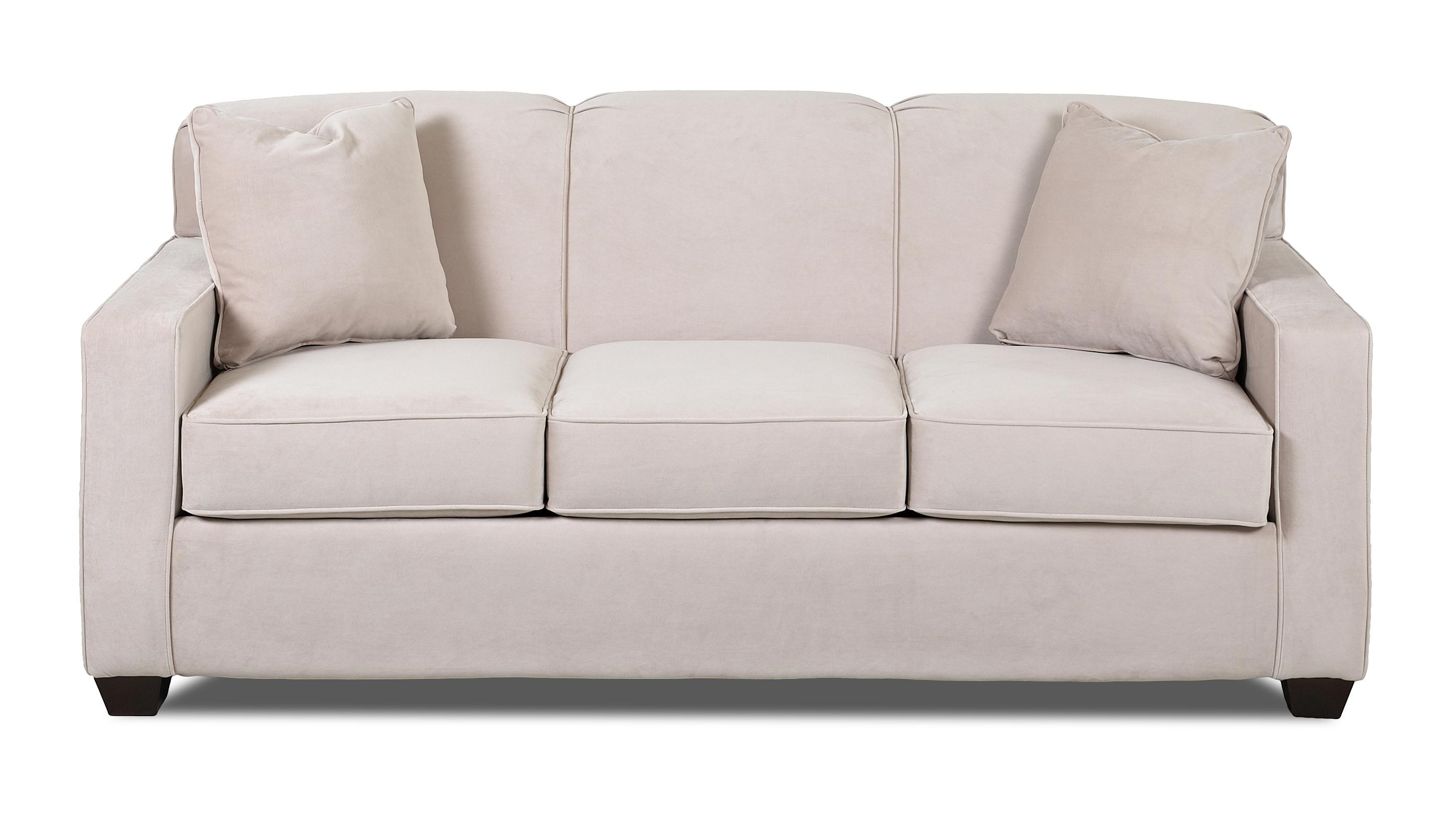 klaussner gillis dreamquest queen sleeper sofa with tight back and track arms