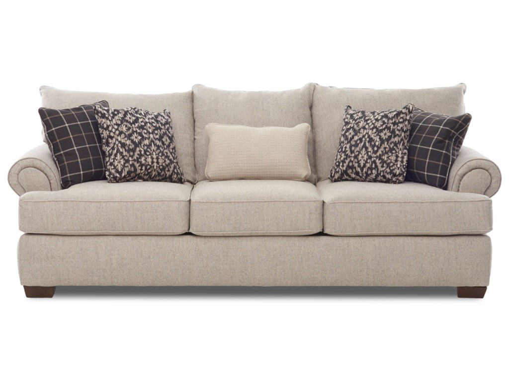 Gainsville Traditional Sofa With Nailheads And 5 Toss Pillows By Metropia At Ruby Gordon Home