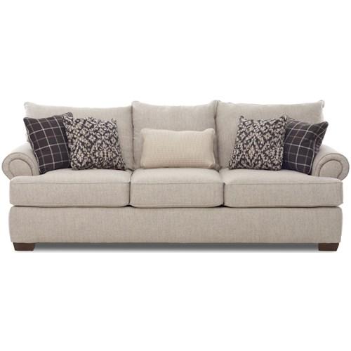 Klaussner Ginger Traditional Sofa with Nailheads and 5 Toss Pillows