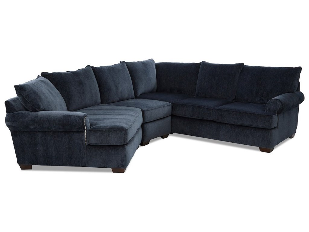 Klaussner Ginger4-Seat Sectional Sofa w/ LAF Cuddler Chair