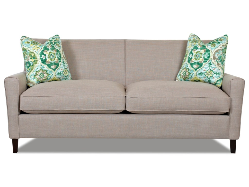 Gol Contemporary 78 Inch Sofa With Down Blend Seat Cushions And Track Arms By Klaussner At Northeast Factory Direct
