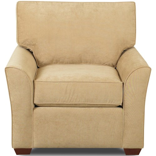 Klaussner Grady Contemporary Flared Arm Chair with Box Seat Cushion
