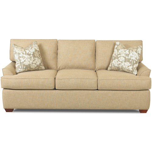 Klaussner Grady Contemporary 3 Seat Queen Dreamquest Sleeper Sofa with Flared Arms and T-Seat Cushions