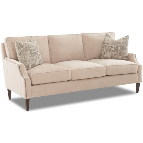 Klaussner Grammercy Transitional Sofa with Arm Pillows
