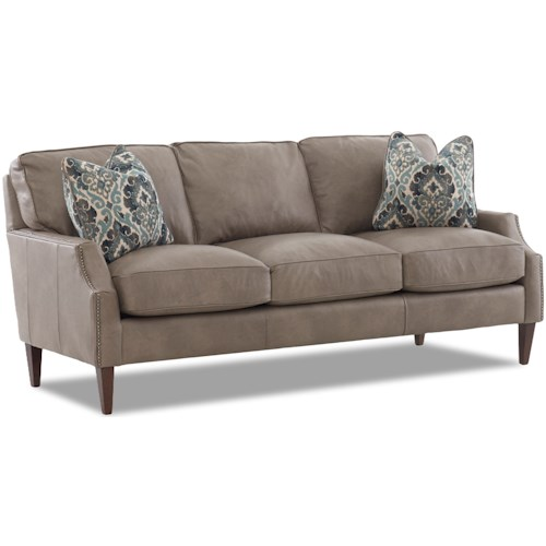 Klaussner Grammercy Leather Sofa with Arm Pillows