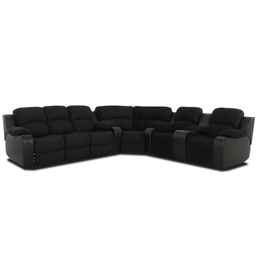 Klaussner Grand  Reclining Sectional Sofa With Console