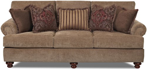 Klaussner Greenvale Traditional Stationary Sofa With Rolled Arms And Bun Feet