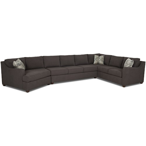 Klaussner Greer Contemporary 3 Piece Sectional with Track Arms and LAF Cuddler