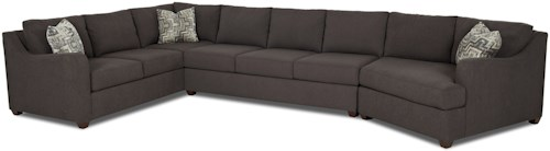 Klaussner Greer Contemporary 3 Piece Sectional with Track Arms and RAF Cuddler