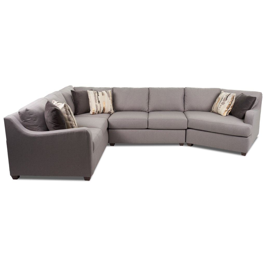 Klaussner Greer Contemporary 3 Piece Sectional with Track Arms and