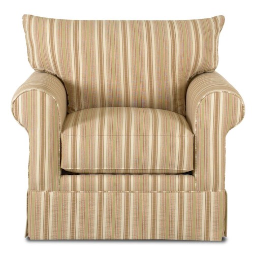 Klaussner Grove Park Chair with Rolled Arms and Skirt