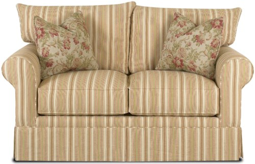 Klaussner Grove Park Loveseat with Accent Pillows and Skirt