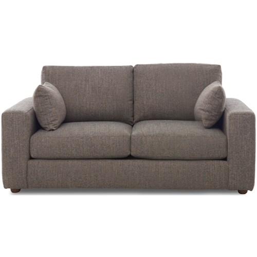 Klaussner Gus Contemporary Customizable Loveseat with Thick Track Arms