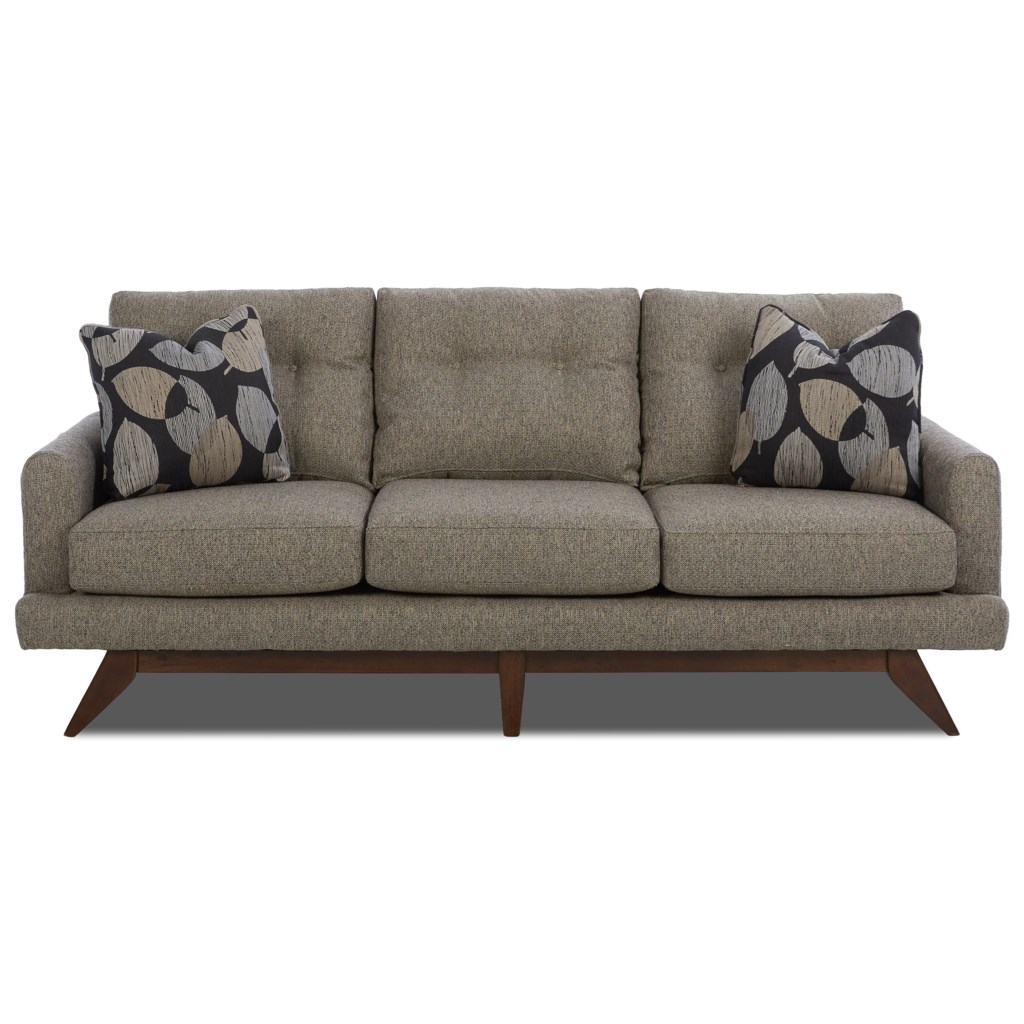 Klaussner Haley Mid Century Modern Sofa With Tufted Back And Modern  Platform Base - Novello Home Furnishings - Sofas