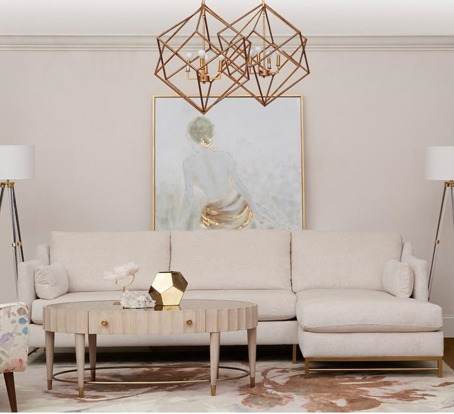 3-Seat Contemporary Modular Chaise Sofa with RAF Chaise  and Metal legs