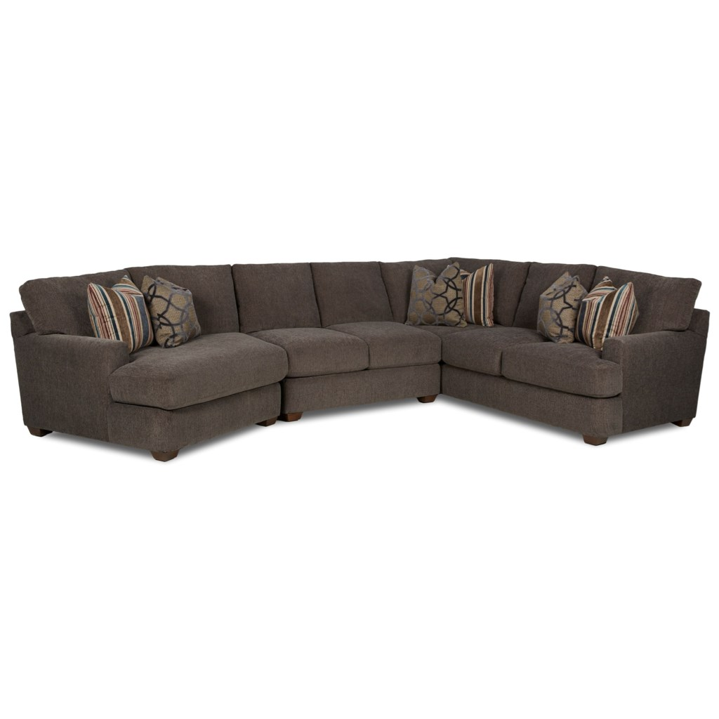 Klaussner Haynes Three Piece Sectional Sofa With Laf Cuddler Value