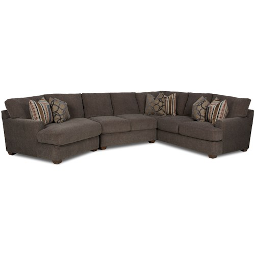 Klaussner Haynes Three Piece Sectional Sofa With Laf Cuddler