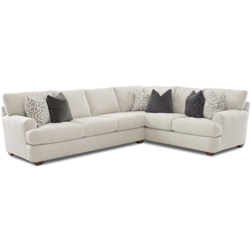 Klaussner Haynes Two Piece Sectional Sofa with RAF Corner Sofa