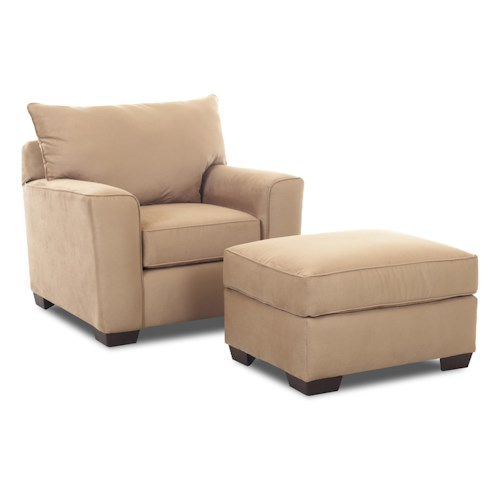 Klaussner Heather Upholstered Chair & Ottoman