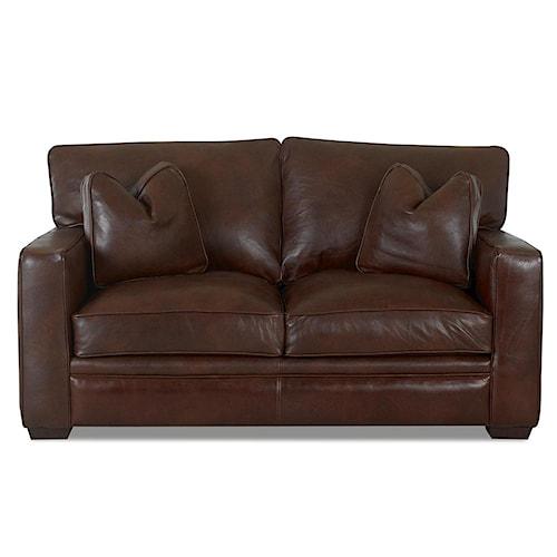 Klaussner Homestead Leather Loveseat