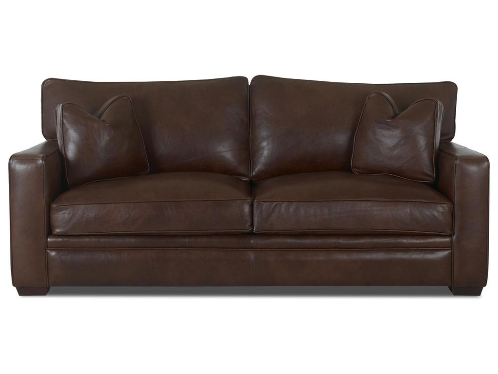 Homestead Leather Sofa by Klaussner at Dunk & Bright Furniture