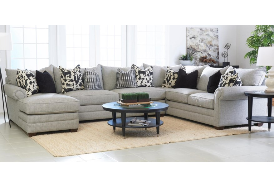 Huntley Four Piece Sectional Sofa With Laf Chaise By Klaussner At Lar Furniture Mattress Center