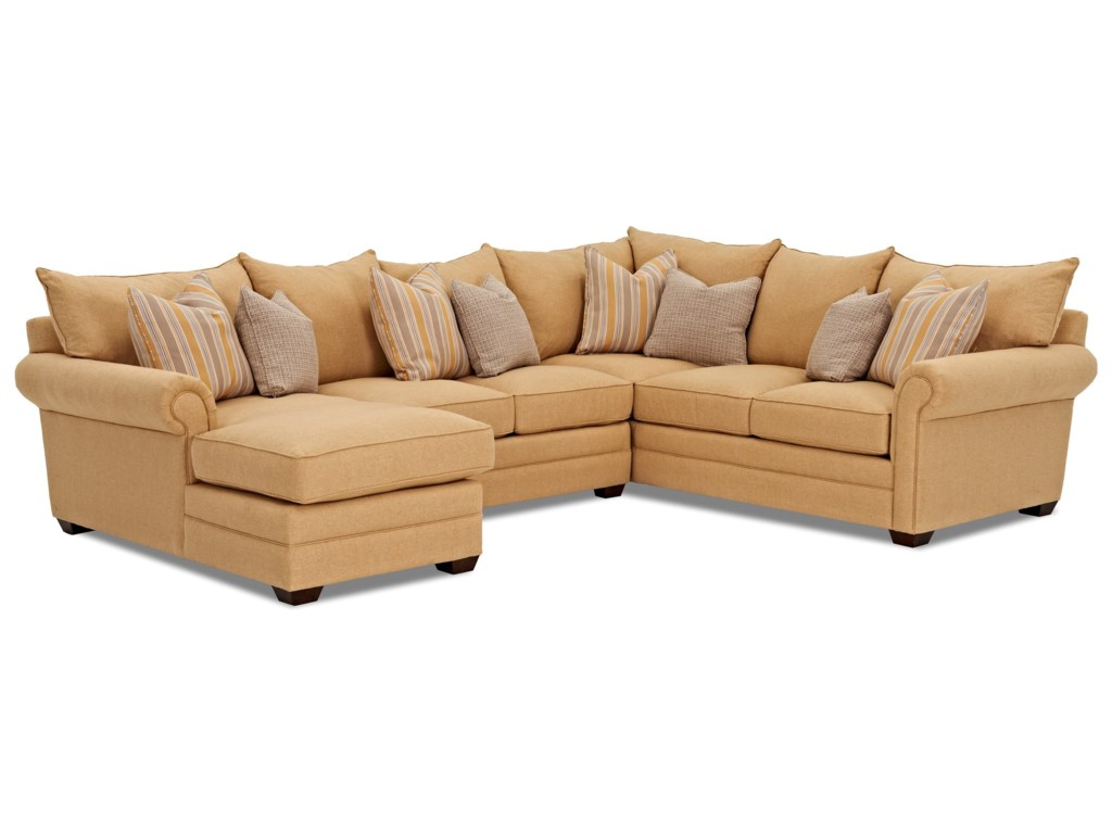 Klaussner Huntley4 Pc Sectional Sofa w/ LAF Chaise