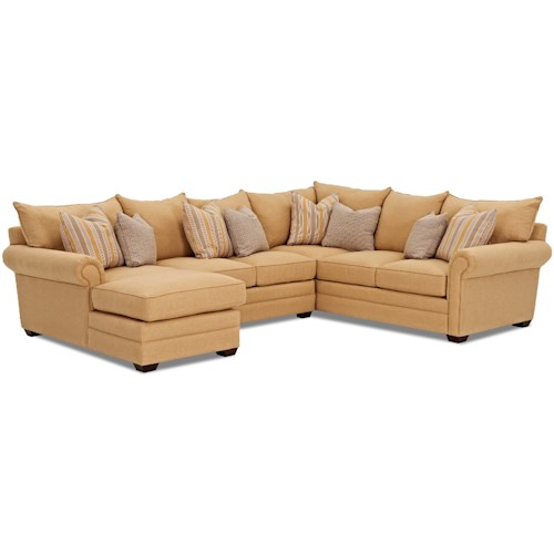 Klaussner Huntley Four Piece Sectional Sofa with LAF Chaise