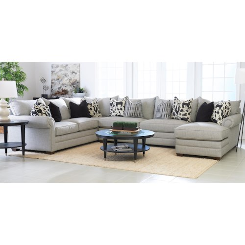 Klaussner Huntley Three Piece Sectional Sofa With Raf Chaise