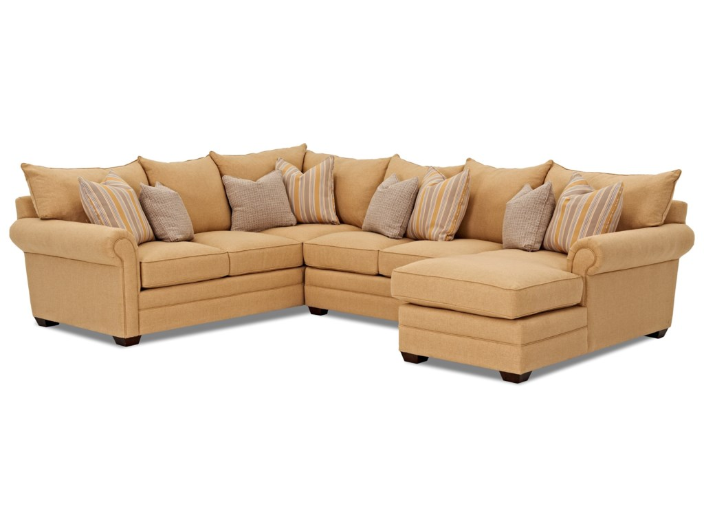 Klaussner Huntley3 Pc Sectional Sofa w/ RAF Chaise