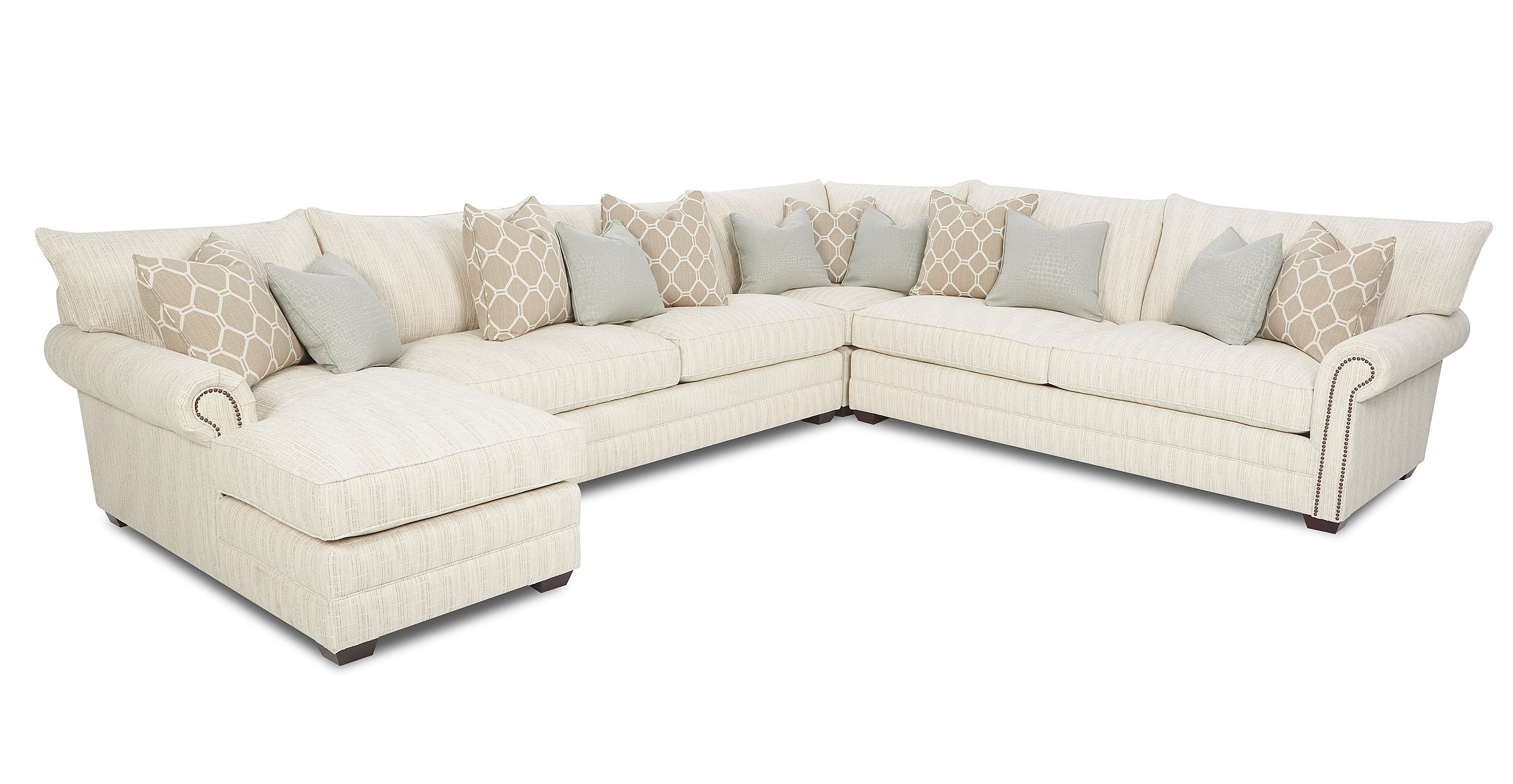 klaussner huntley traditional sectional sofa with nailhead trim and rh wayside furniture com  grey sectional sofa with nailhead trim