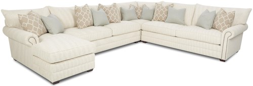Klaussner Huntley Traditional Sectional Sofa With Nailhead Trim And Chaise Lounge
