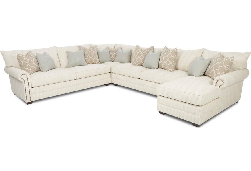 Huntley Traditional Sectional Sofa With Nailhead Trim And Chaise Lounge By Klaussner At Dunk Bright Furniture
