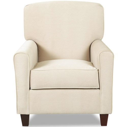 Klaussner Hybrid Casual Stationary Chair with Arched Track Arms and Rounded Back Cushion and Tall Tapered Feet