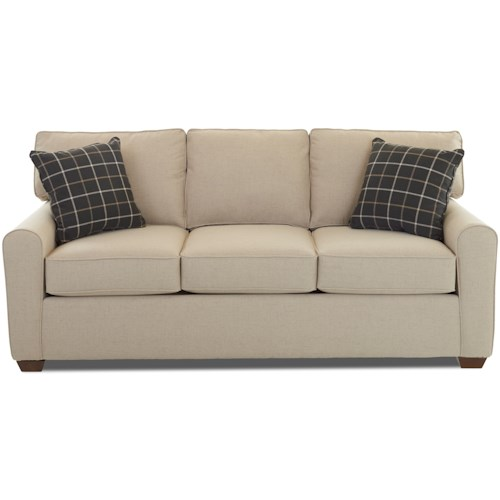 Klaussner Hybrid Casual Stationary Sofa with Box Seat Cushions and Welt Cord Trim