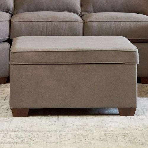 Klaussner Hybrid Storage Ottoman with Lift-Top and 2 Toss Pillows