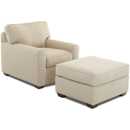 Klaussner Hybrid Casual Stationary Chair and Ottoman Set