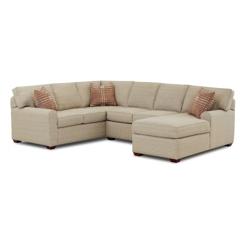 Klaussner Hybrid Sectional Sofa with Right-Facing Chaise Lounge