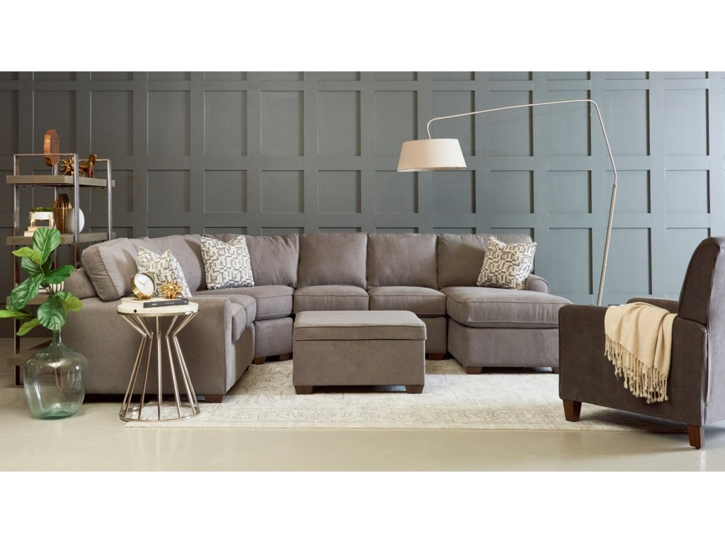 Klaussner Hybrid4 Pc Sectional Sofa w/RAF Chaise