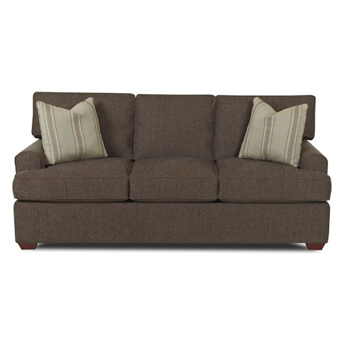 Klaussner Hybrid Casual Stationary Sofa with Arched Track Arms