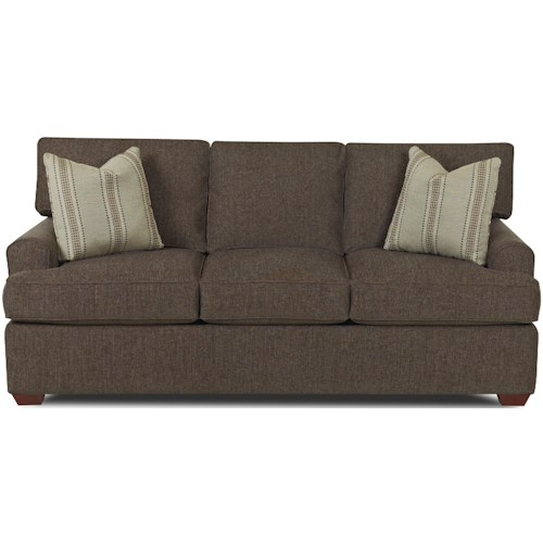 Klaussner Hybrid Casual Stationary Sofa with Arched Track Arms and T Cushion