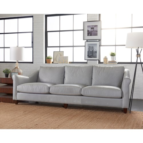 Klaussner Isabella Transitional Sofa with Rolled Arms and Exposed Wood Legs
