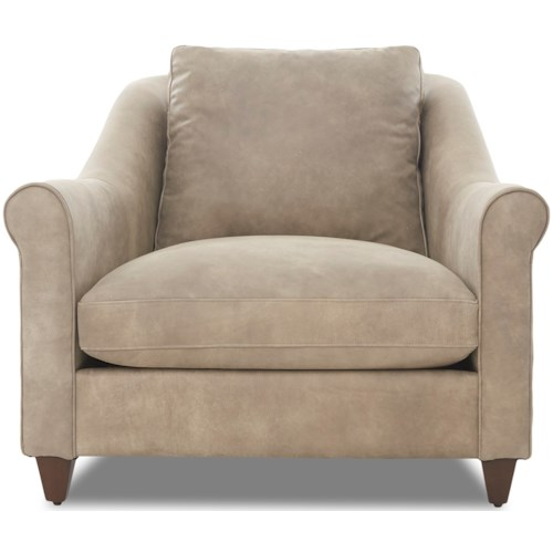 Klaussner Isabella Transitional Chair with Rolled Arms and Exposed Wood Legs