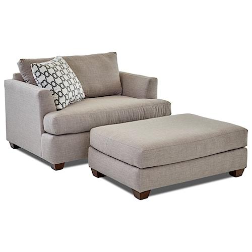 Klaussner Jack Big Chair and Ottoman Set
