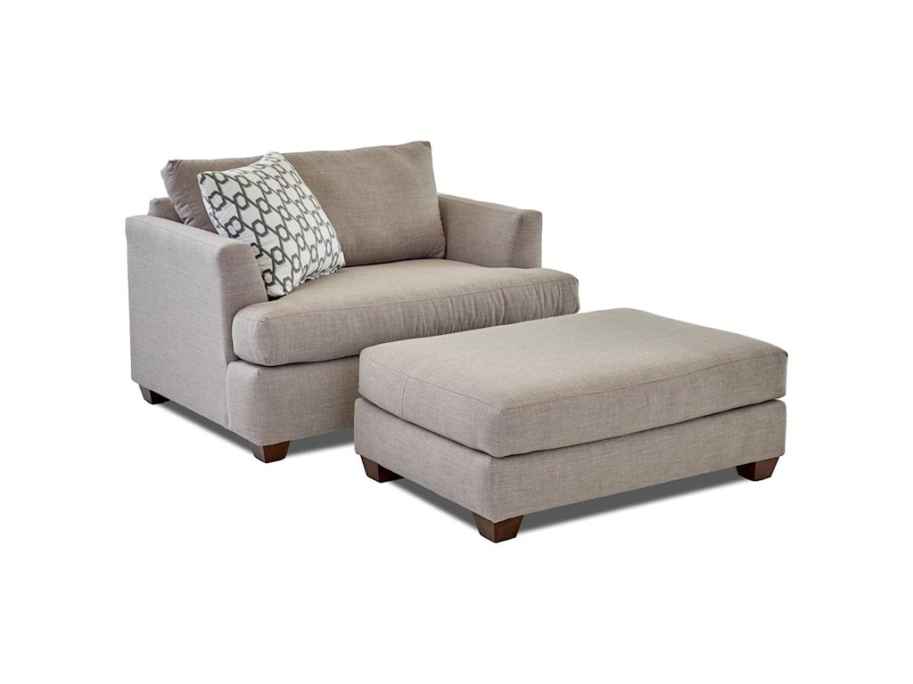 Klaussner JackBig Chair and Ottoman Set