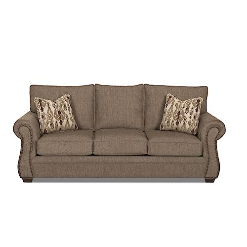 Klaussner Jasper Traditional Air Coil Mattress Sleeper Sofa with Nailhead Trim