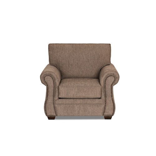 Klaussner Jasper Traditional Chair with Rolled Arms and Nailhead Trim