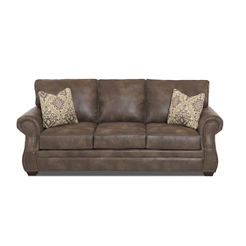 Klaussner Jasper Traditional Dreamquest Queen Sleeper Sofa with Nailhead Trim