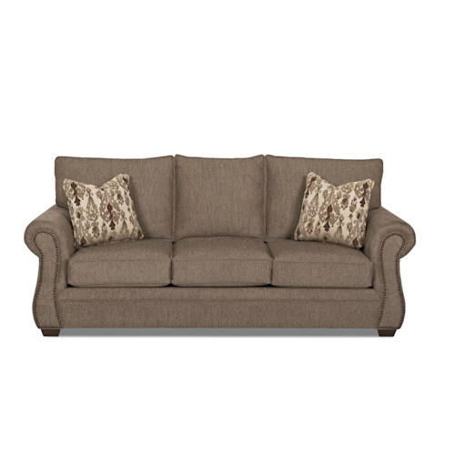 Klaussner Jasper Traditional Enso Memory Foam Queen Sleeper Sofa with Nailhead Trim